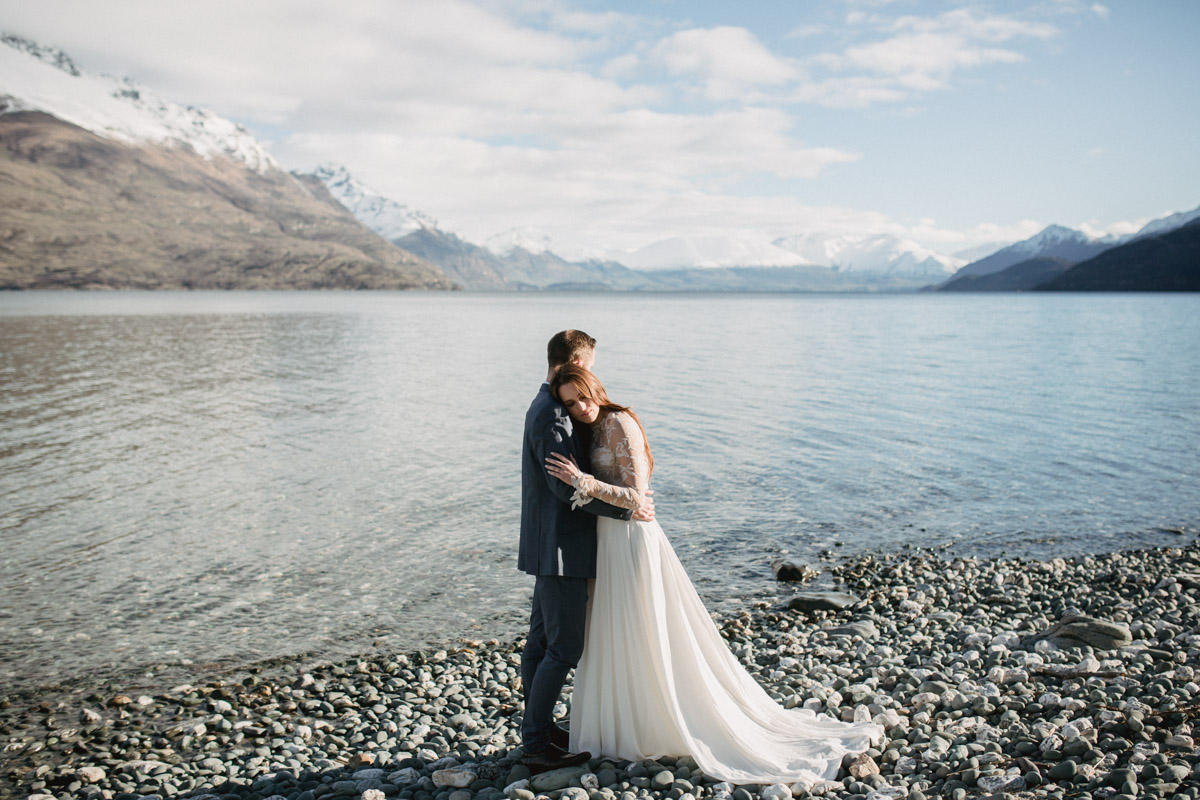 Queenstown winter lakeside elopement editorial photography by Dawn Thomson Photography featured in Together Journal